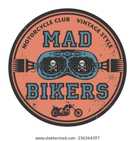 Grunge rubber stamp with the words Mad Bikers inside, vector illustration