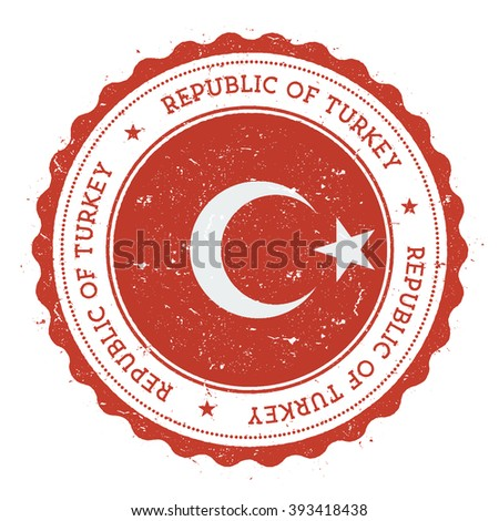 Grunge rubber stamp with Turkey flag. Vintage travel stamp with circular text, stars and country flag inside it, vector illustration. - stock vector