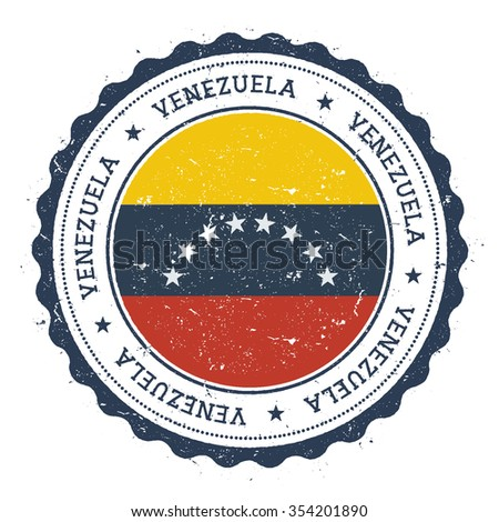 Grunge rubber stamp with Venezuela flag. Vintage travel stamp with circular text, stars and country flag inside it, vector illustration