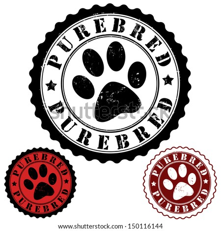 Grunge rubber stamp, with word purebred and animal footprint inside, vector illustration - stock vector