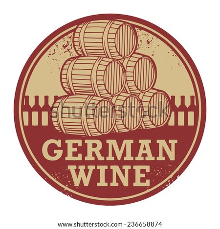 Grunge rubber stamp with words German Wine, vector illustration