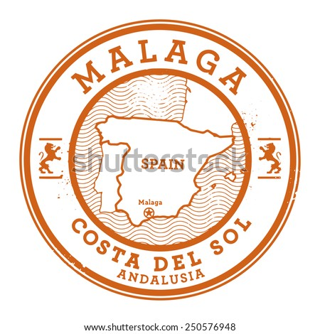 Grunge rubber stamp with words Malaga, Spain inside, vector illustration - stock vector