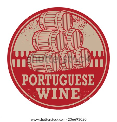 Grunge rubber stamp with words Portuguese Wine, vector illustration