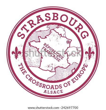 Grunge rubber stamp with words Strasbourg, France inside, vector illustration - stock vector