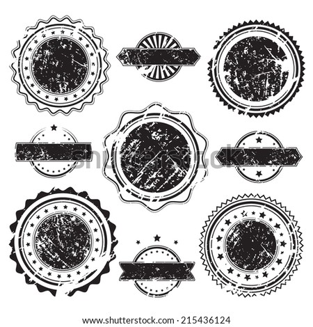 Grunge rubber stamps and stickers icons, set, graphic design elements, black isolated on white background, vector illustration. - stock vector