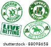 Grunge rubber stamps with horse, soccer,live and sports betting text written inside the stamps, vector illustration - stock photo
