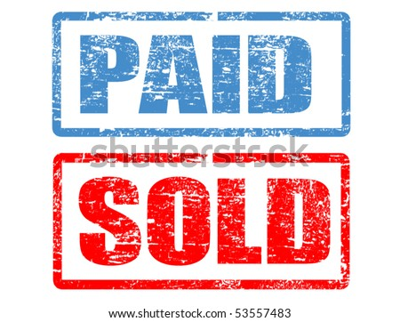 grunge rubber stamps with the word paid and sold written inside the stamp - stock vector
