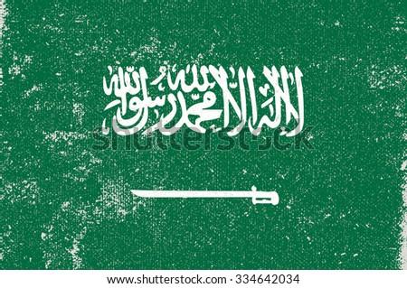 Grunge Saudi Arabia flag.Saudi Arabia flag with grunge texture.Vector illustration. - stock vector