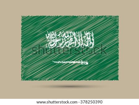 Grunge Saudi Arabia flag.Scribble flag of Saudi Arabia. - stock vector