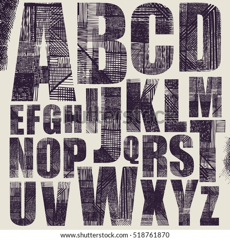 Grunge Scratch Type Font, Hand Drawing Typography Collection. Vector Illustration.