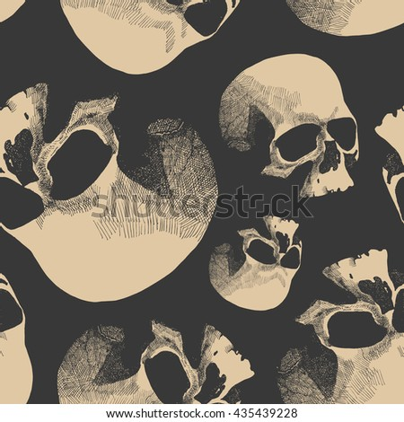 Grunge seamless pattern with skulls. Hand drawn. Vector illustration. - stock vector
