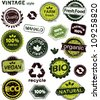 Grunge set of organic labels - stock vector