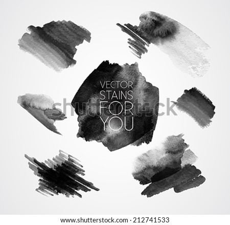 grunge set of paint stains - text grungy decoration effects - vector