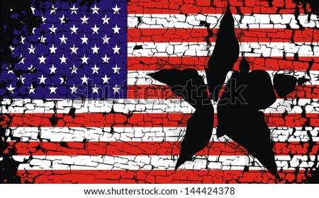 grunge shred in the American flag - stock vector