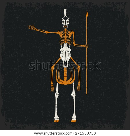 grunge skeleton in spartan helmet with spear on the horse - stock vector