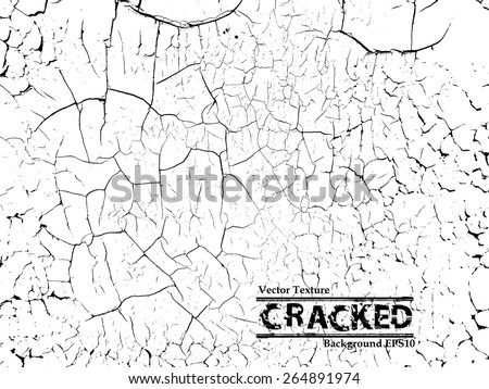 Grunge Sketch Effect Texture . The Cracks Texture . Cracked Concrete . Cracked Ground . Cracked Wall . Vector Background . - stock vector