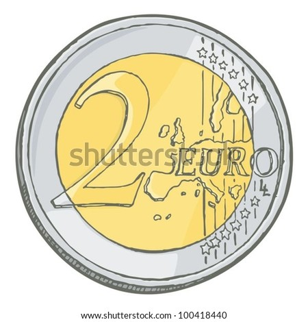Grunge sketch of two euro coin isolated on white. - stock vector