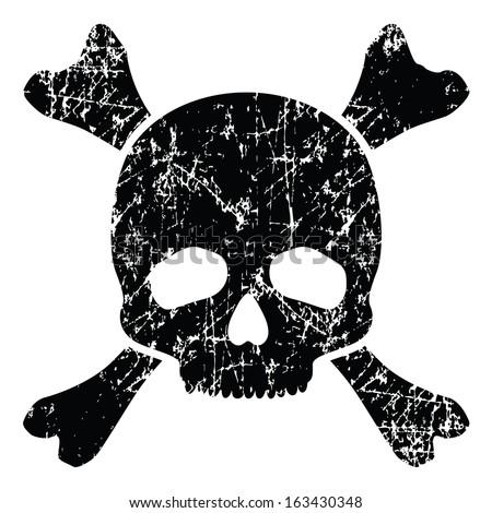 Grunge skull isolated on white (vector illustration) - stock vector