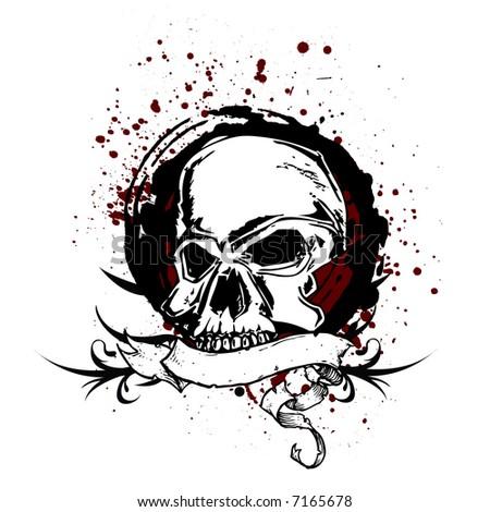 grunge skull vector - stock vector