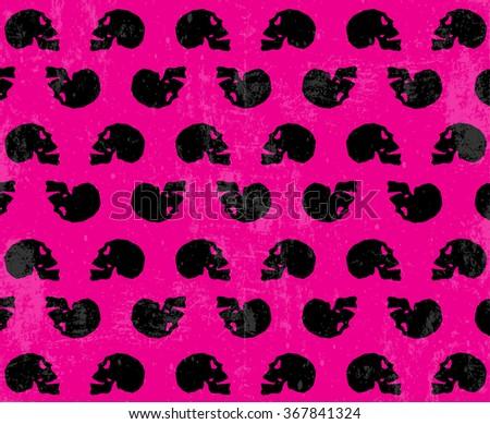 Grunge skulls pink background pattern - stock vector