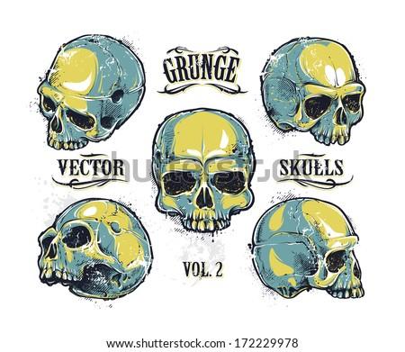Grunge skulls vector set. Hand-drawn skulls. Vector illustration. - stock vector