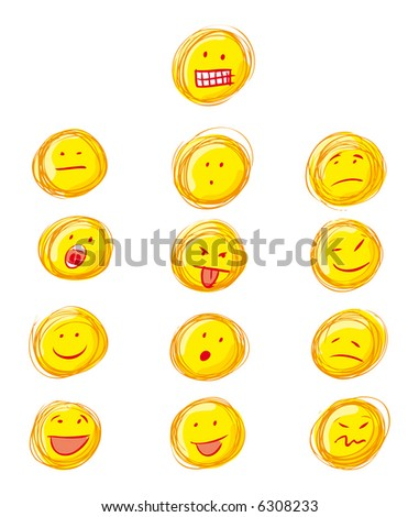 Grunge smilies icons