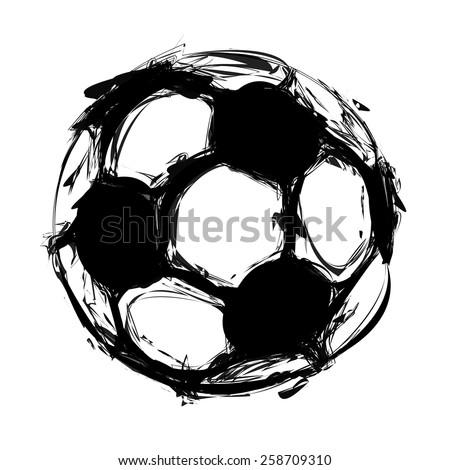 grunge soccer ball on white, easy all editable - stock vector