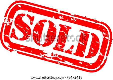 Grunge sold rubber stamp, vector illustration - stock vector
