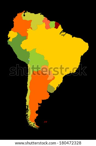 Grunge South America vector map with separated countries isolated on black background.  - stock vector