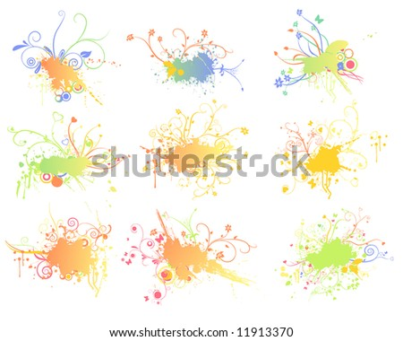 grunge splash backgrounds with flower elements