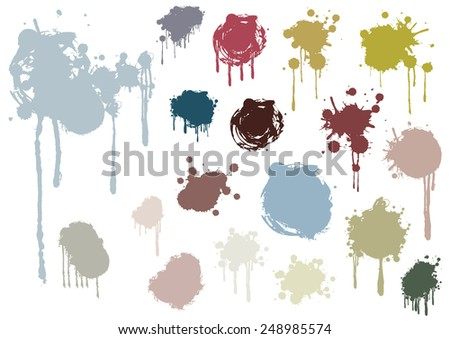grunge splashes set, illustration vector - stock vector