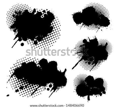 Grunge splatters and dots set - stock vector