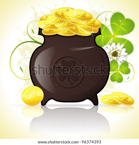 Grunge St. Patrick's Day Background with Cauldron, Coins and Clover Leaf, vector illustration - stock vector
