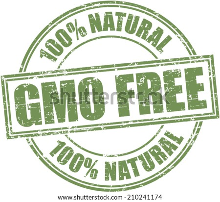 Grunge stamp 'gmo free-100% natural' - stock vector