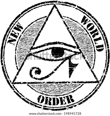 Grunge stamp 'New world order' with a Horus eye - stock vector