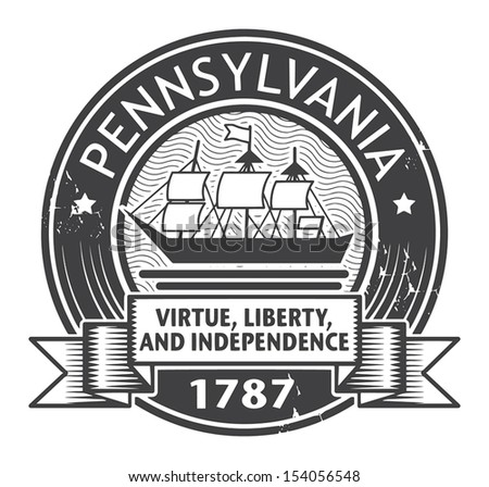 Grunge stamp or label with name of Pennsylvania, vector illustration - stock vector
