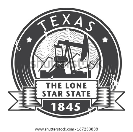 Grunge stamp or label with name of Texas, vector illustration - stock vector