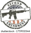 Grunge stamp Second amendment; assault rifle ar-15  - stock photo