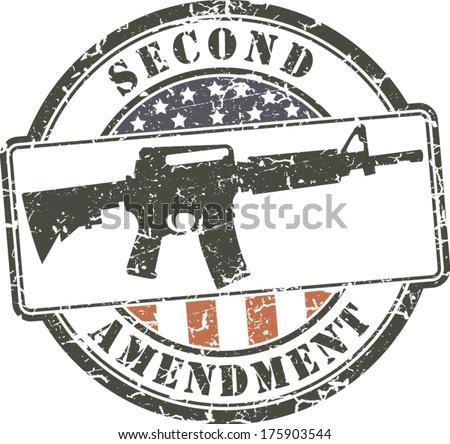 Grunge stamp Second amendment; assault rifle ar-15  - stock vector