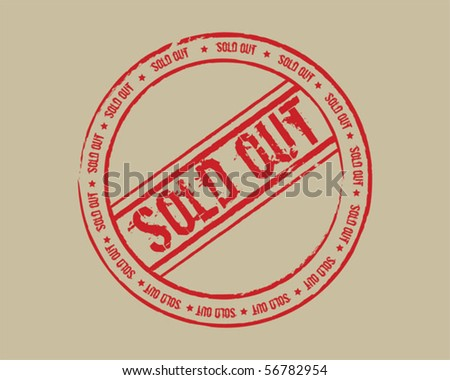 Grunge stamp sold out red - stock vector