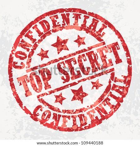 Grunge stamp top secret - stock vector