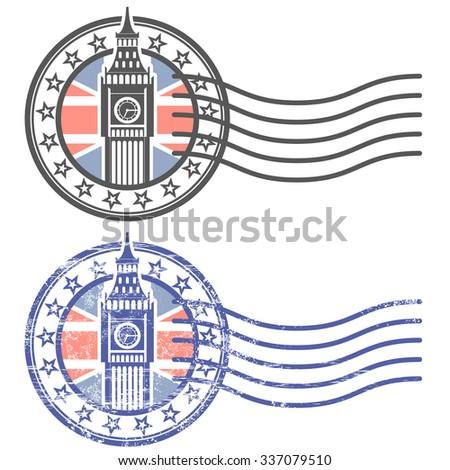 Grunge stamp with Big Ben and British flag - landmark of London - stock vector