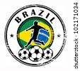 Grunge stamp with football and name Brazil, vector illustration - stock photo