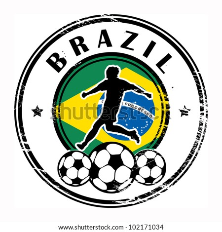 Grunge stamp with football and name Brazil, vector illustration - stock vector