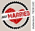 Grunge stamp with heart and Just Married - stock photo