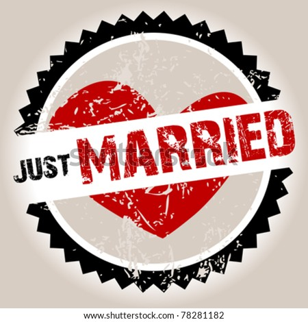 Grunge stamp with heart and Just Married - stock vector