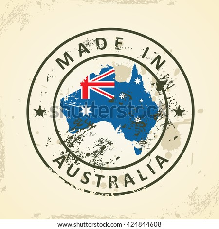Grunge stamp with map flag of Australia - vector illustration - stock vector