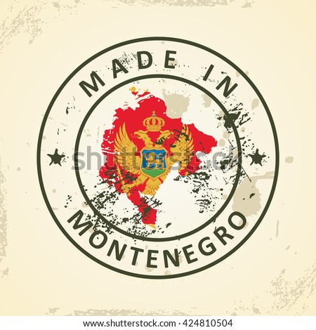 Grunge stamp with map flag of Montenegro - vector illustration - stock vector