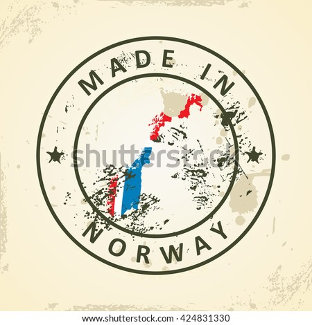 Grunge stamp with map flag of Norway - vector illustration - stock vector