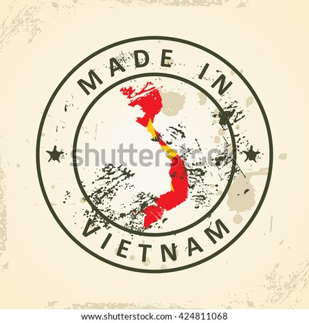 Grunge stamp with map flag of Vietnam - vector illustration - stock vector